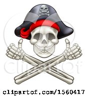 Poster, Art Print Of Pirate Skull And Cross Bones Jolly Roger With Thumbs Up