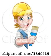 Clipart Of A Cartoon Happy Female Painter Holding A Brush Around A Sign Royalty Free Vector Illustration