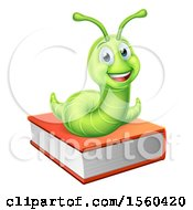 Poster, Art Print Of Happy Green Worm On A Book