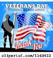 Clipart Of A Black Silhouetted Soldier With An American Flag And Sky With Text Royalty Free Vector Illustration