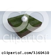 3D Soccer Ball On Grass Patch Over A Gray Background