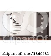 Clipart Of A 3d Room Interior With A Staircase Royalty Free Illustration by KJ Pargeter