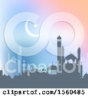 Ramadan Kareem Background With A Silhouetted Mosque
