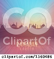 Clipart Of A Ramadan Kareem Background With A Silhouetted Mosque Royalty Free Vector Illustration by KJ Pargeter