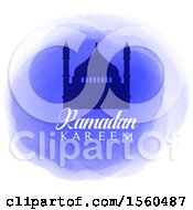 Clipart Of A Ramadan Kareem Background With A Silhouetted Mosque On Watercolor Royalty Free Vector Illustration by KJ Pargeter