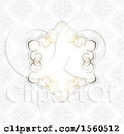 Poster, Art Print Of Golden Frame Over A Gray Damask Pattern