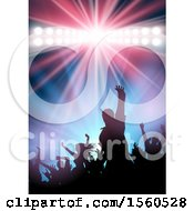 Clipart Of A Silhouetted Dancing Crowd And Spotlight Royalty Free Vector Illustration