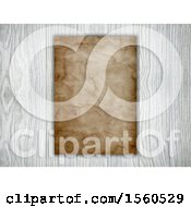 Clipart Of A 3d Blank Piece Of Aged Paper On Wood Royalty Free Illustration