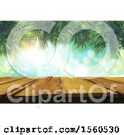 Clipart Of A 3d Wood Table Surface With Flares And Palm Branches Royalty Free Illustration