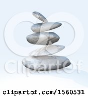 Clipart Of 3d Zen Balanced Rocks On A Shaded Background Royalty Free Illustration
