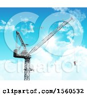 3D Render Of An Industrial Crane Against A Blue Sky With Fluffy White Clouds