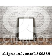 Clipart Of A 3D Render Of A Blank Picture Frame Leaning Against An Old Brick Wall Royalty Free Illustration