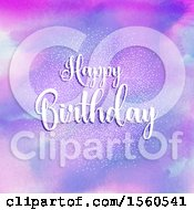 Clipart Of A Happy Birthday Greeting Over Watercolor Royalty Free Vector Illustration