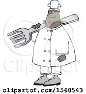 Black Male Chef In Carrying A Giant Fork Over His Shoulder