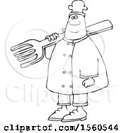 Lineart Black Male Chef In Carrying A Giant Fork Over His Shoulder