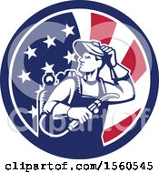 Poster, Art Print Of Retro Male Welder Looking Back Over His Shoulder In An American Flag Circle