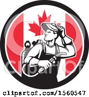 Clipart Of A Retro Male Welder Looking Back Over His Shoulder In A Canadian Flag Circle Royalty Free Vector Illustration by patrimonio