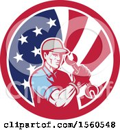 Poster, Art Print Of Retro Handy Man Or Mechanic Flexing And Holding A Spanner Wrench In An American Flag Circle