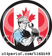 Poster, Art Print Of Retro Handy Man Or Mechanic Flexing And Holding A Spanner Wrench In A Canadian Flag Circle