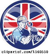 Clipart Of A Retro Handy Man Or Mechanic Flexing And Holding A Spanner Wrench In A Union Jack Flag Circle Royalty Free Vector Illustration