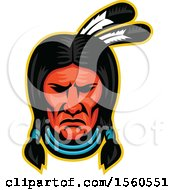 Clipart Of A Retro Sioux Native American Indian Chief Royalty Free Vector Illustration