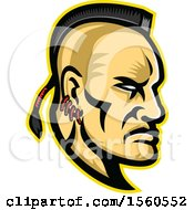 Clipart Of A Retro Native American Mohawk Warrior Brave In Profile Royalty Free Vector Illustration