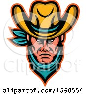 Clipart Of A Tough Cowboy Wearing A Bandana And Hat Royalty Free Vector Illustration by patrimonio
