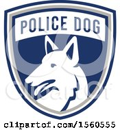Clipart Of A Retro German Shepherd Police Dog In A Shield Royalty Free Vector Illustration by patrimonio