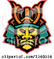 Clipart Of A Samurai Warrior Wearing Mengu Facial Armour Royalty Free Vector Illustration