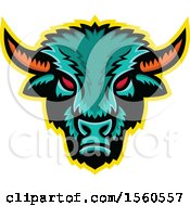 Clipart Of A Red Eyed Demonic American Bison Mascot Royalty Free Vector Illustration by patrimonio