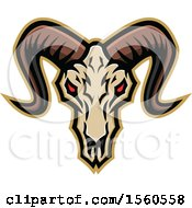 Clipart Of A Red Eyed Demonic Ram Skull Royalty Free Vector Illustration