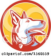 Clipart Of A Retro Alsatian German Shepherd Police Dog In A Circle Royalty Free Vector Illustration