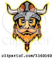 Clipart Of A Retro Viking Warrior Mascot Royalty Free Vector Illustration by patrimonio