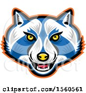 Clipart Of A Blue And White Raccoon Mascot Face Royalty Free Vector Illustration