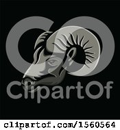 Clipart Of A Metallic Styled Ram Head Mascot On A Black Background Royalty Free Vector Illustration
