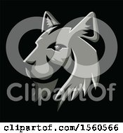 Clipart Of A Metallic Styled Bobcat Lynx Mascot On A Black Background Royalty Free Vector Illustration