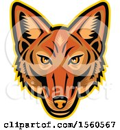 Clipart Of A Jackal Mascot Head Royalty Free Vector Illustration