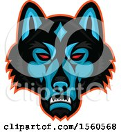Clipart Of A Red Eyed Timber Wolf Mascot Head Royalty Free Vector Illustration