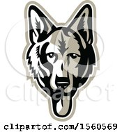 Clipart Of A German Shepherd Alsatian Dog Mascot Royalty Free Vector Illustration