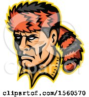 Clipart Of A Retro Davy Crockett Frontiersman Mascot With A Coon Skin Hat Royalty Free Vector Illustration