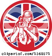 Clipart Of A Retro Woodcut Camera Man In A Union Jack Flag Circle Royalty Free Vector Illustration