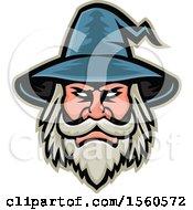 Retro White Bearded Wizard Mascot