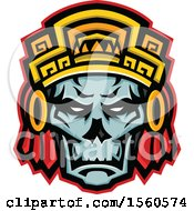 Clipart Of A Retro Noble Aztec Warrior Skull Wearing Wood Headdress Royalty Free Vector Illustration