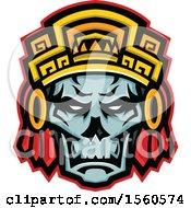 Retro Noble Aztec Warrior Skull Wearing Wood Headdress