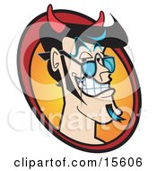 Handsome Male Devil With Black Hair A Goatee And Sparkling Teeth Clipart Illustration