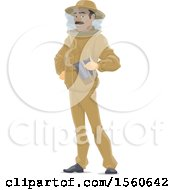 Clipart Of A Beekeeper Holding A Smoker Royalty Free Vector Illustration