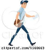 Clipart Of A Mail Man On A Walking Route Royalty Free Vector Illustration by Vector Tradition SM
