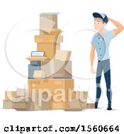 Clipart Of A Mail Man By A Pile Of Parcels Royalty Free Vector Illustration