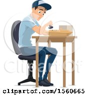 Clipart Of A Mail Man Stamping A Parcel Royalty Free Vector Illustration