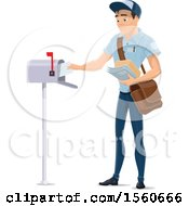 Clipart Of A Mail Man Inserting Mail In A Box Royalty Free Vector Illustration by Vector Tradition SM